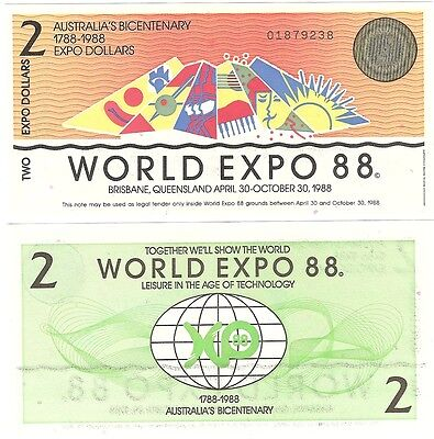 Australia World Expo 2 Dollars 1988 Brisbane UNC Bicentenary Banknote