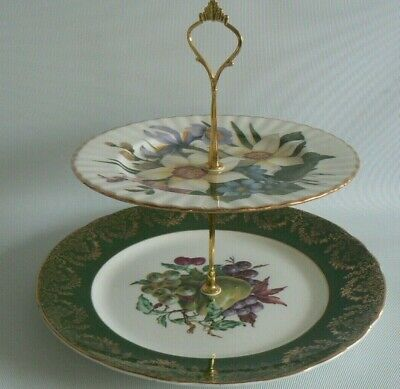 China 2 Tier Cake Stand Pretty Floral & Fruit Pattern