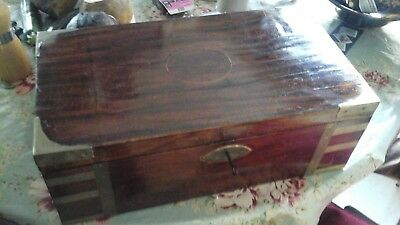 Antique English Brass Bound Campaign Style Writing Slope Box