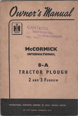 McCORMICK International 8-A Tractor Plough 2 and 3 Furrow Owners Manual and Part