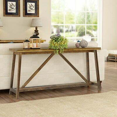 Tribesign Long Skinny Console Table Simple Brown Wooden Entry Table For  Entryway