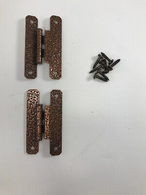 """SET OF 2 JB 2652-07-01 Forged Iron """"H"""" 3/8"""" Offset Cabinet Hinges Antique Copper"""