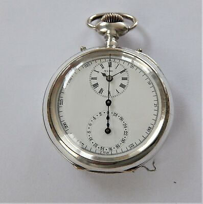 1895 Rare Silver / Nickel Cased Chronograph Swiss Lever Pocket Watch Working
