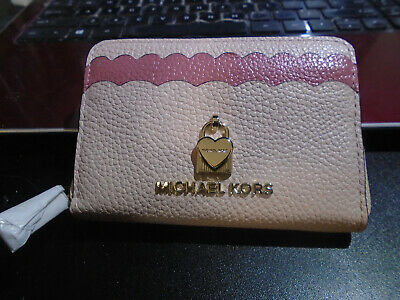 57fb17535d1099 New MICHAEL KORS Soft Pink Multi Color Leather Coin CreditCard Case Wallet