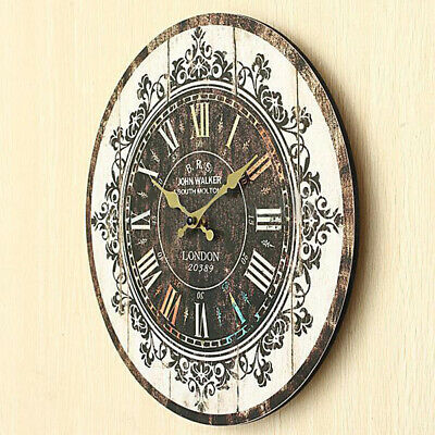 Wall Clock Numeral Vintage Colorful Painted Pattern Office Decor 35*35cm New