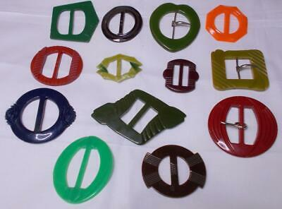 7 DECO BAKELITE /&CELLULOID BELT BUCKLES PAGE 3- A TO G CHOICE $25.00 EACH