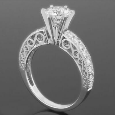 Solitaire And Accents 2.59 Ct Round Diamond Ring 18 Karat White Gold Colorless