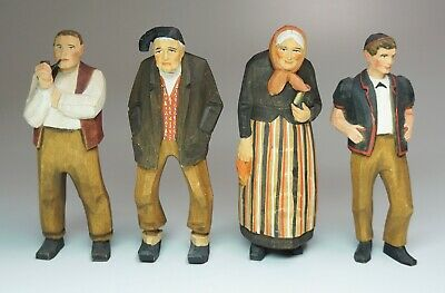 """4 Vintage Hand Carved Painted Wood Figures Switzerland 5"""" High"""