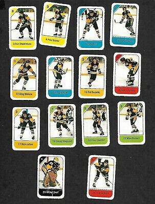 1982-83 Post Cereal Pittsburgh Penguins Nhl Team Lot Of 14 Mini Cards: Carlyle+