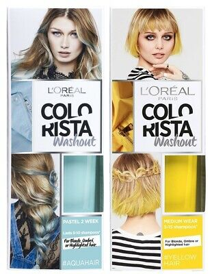 L'Oreal Colorista WashOut Semi-Permanent Hair Colour Dye Shampoo AQUA/DENIM BLUE