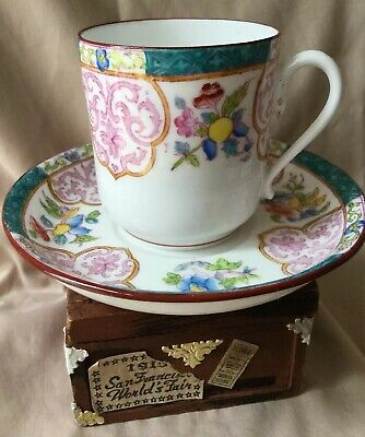 19c Victorian MINTON Cup & Saucer Floral Turquoise Exotic Pattern C 1880