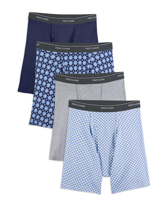 Fruit of the Loom® BIG MEN'S DUAL DEFENSE PRINT/SOLID BOXER BRIEFS 4/8 Pack  3XL