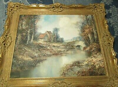 Willi Bauer Untitled Original Fall Landscape Oil Painting on Canvas SIGNED