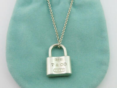 Authentic TIFFANY & CO Sterling Silver 1837 Padlock Lock Pendant Necklace