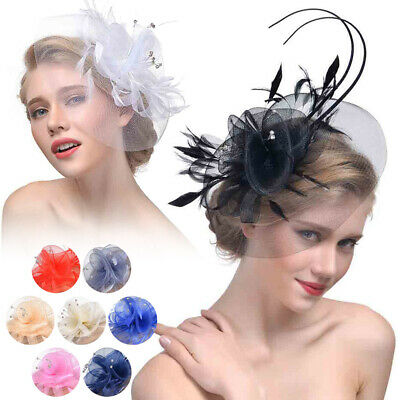 Ladies Fascinator Hat with Headband Flower Mesh Headwear for Tea Party Wedding