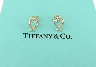 Authentic TIFFANY & CO Sterling Silver Picasso Loving Heart Earrings