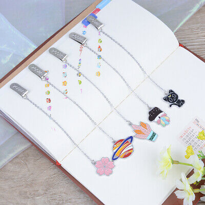 Cute cat metal bookmark cartoon animal universe book decor pendant bookmarks