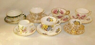 Vintage Teacup & Saucer Lot of 7*Royal Albert*Windsor*Colclough*Bone China*