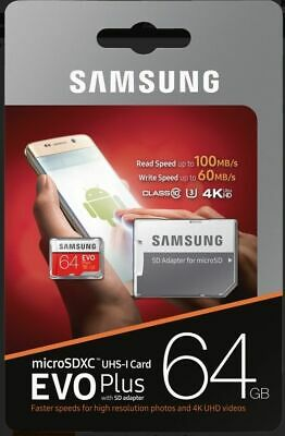 Samsung EVO Plus 64GB Micro-SDXC Card mit 100 MB/s +SD-Adapter UHS-I U3,Mod.2017