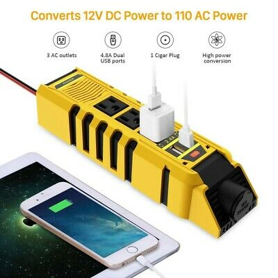 150W Car Power Inverter Adapter 12V DC to 110V AC Converter 2 USB Home Yellow A
