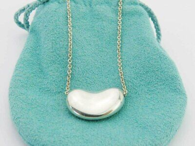 Authentic TIFFANY & CO Sterling Silver Large Bean Pendant Necklace