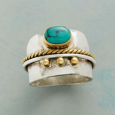 Antique Women 925 Silver Turquoise Gemstone Wedding Proposal Jewelry Ring # 6-10