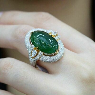 Gorgeous Jewelry 14K Yellow Gold Plated Emerald Ring Women Wedding Bridal Sz6-10