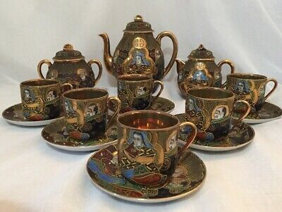 Japanese Satsuma Tea Set Samurai China Gold Lined Eggshell Porcelain Oriental VG