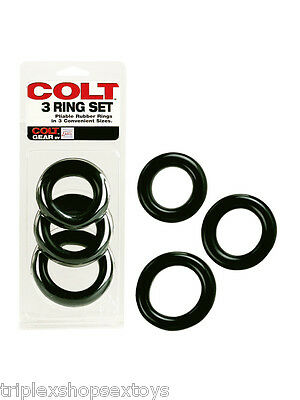 COLT MAN Cockring COCK RING SET 3 Anelli Gomma Naturale UOMO 40 45 50 mm SEXY
