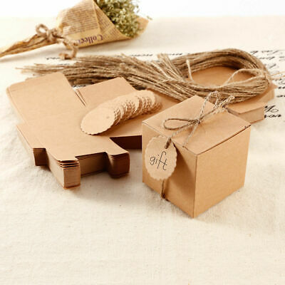 100X Eco Kraft Small Natural Gift Boxes Wedding Favour Includes String Tags