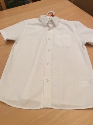 boys clothes 7-8 years White Poly Cotton Short Sleeved Shirt