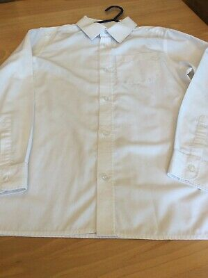 boys clothes 9-10 years F&F White Poly Cotton Long Sleeved School Shirt
