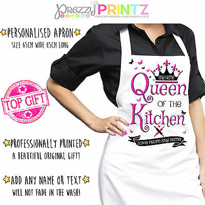 Personalised Apron Ladies Womans Chef Kitchen Birthday Christmas Cook Mom Mum