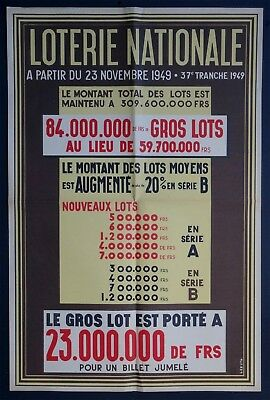 Leruth 1949 Affiche originale ancienne lithographie Loterie Nationale Gros Lot