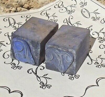 Pair Antique French Printing Block Letter Monogram Wood Rubber Stamp Seal