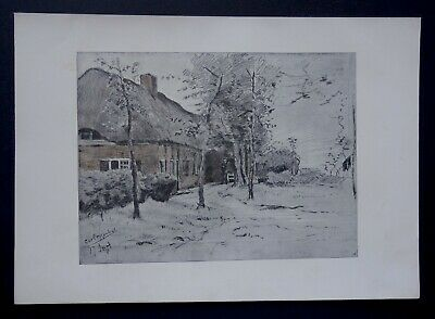 POGGENBEEK 1901 Une ferme en Hollande Planche Originale ancienne Art Craft