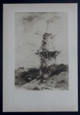 Jacob H. MARIS 1901 Le Moulin dessin aquarelle Planche Originale ancienne