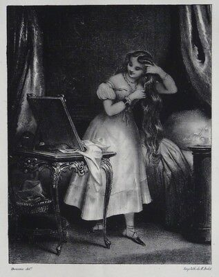 DEVERIA Lithographie originale c1827 Jeune fille Toilette 19ème Ardit Engelmann