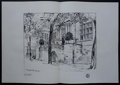 GRUBHOFER 1900 British Pavilion Paris dessin Planche Originale Art Nouveau Craft