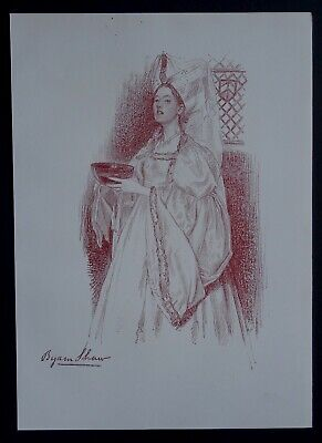 Byam SHAW 1897 Lithographie originale dessin Art & Craft portrait femme