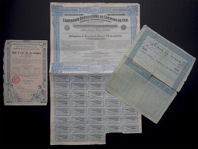 1889-1912 3 Actions Titres obligation Casino Royan Expo Universelle Chemins fer
