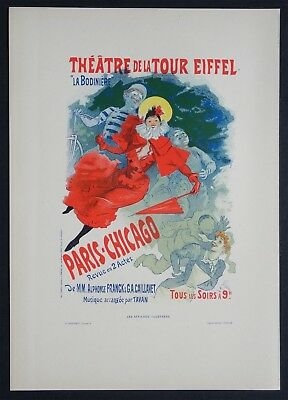Jules CHERET Lithographie Originale 1896 Art Nouveau Paris Chicago Tour Eiffel