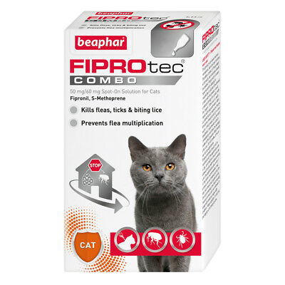 Beaphar FIPROtec COMBO Flea & Tick Spot On For  Cats 3 treatment