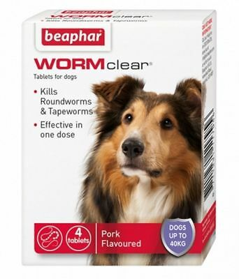Beaphar WORMclear LARGE DOGS Worming Tablets Vet Strength Round &Tapeworm 4 Tab