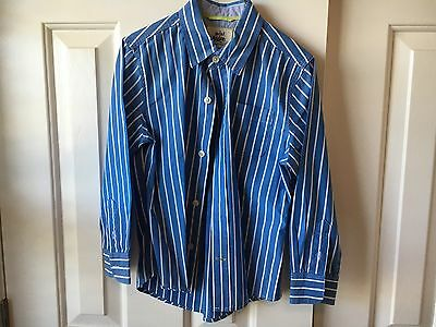 Boys Mini Boden Blue And White Striped Shirt 5–6 Y
