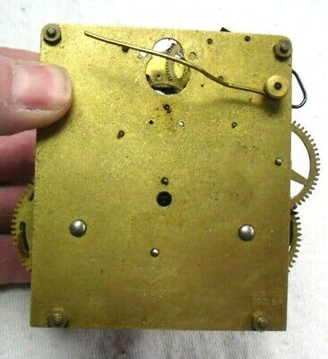 Vintage 1920-30s Brass Foreign Chiming Mantel Clock Movement,Spares Or Repair.