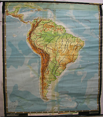 Schulwandkarte Wall Map School Map Role Map America Caribbean Brazil 181x205
