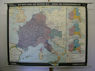 Schulwandkarte Beautiful Wall Map School Role Karl the Great 183x142 1966