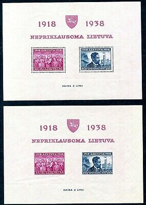 LITHUANIA-1939 20th Anniversary of Independence Minisheet Perf and Imperf
