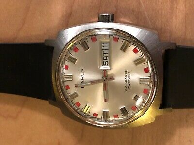 Vintage RARE Baron red dial super cool retro 17 j Automatic watch Huge! SS